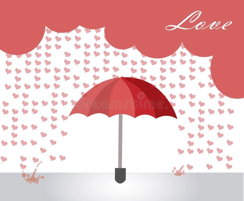Hearts rain stock illustration
