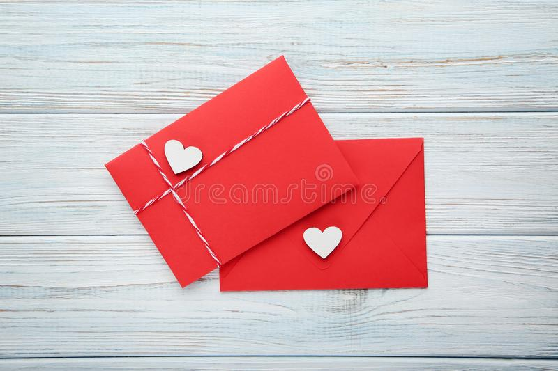 Hearts with red envelopes royalty free stock photography