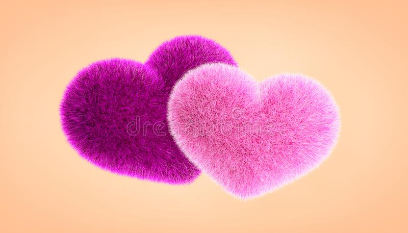 Hearts. Render illustration of two pink hearts on a neutral background vector illustration