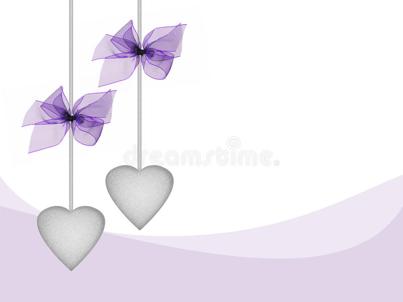 Hearts and ribbons in lilac and silver, lovely card design. Ideal birthday greeting, Mother's Day etc - with copyspace royalty free illustration