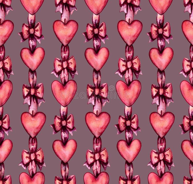 Hearts and ribbons pattern 01 vector illustration