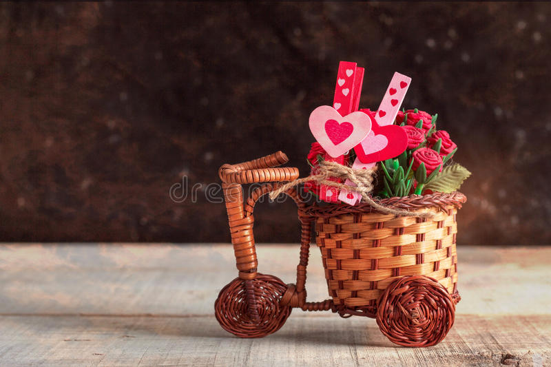 Hearts and rose on wooden. royalty free stock photo