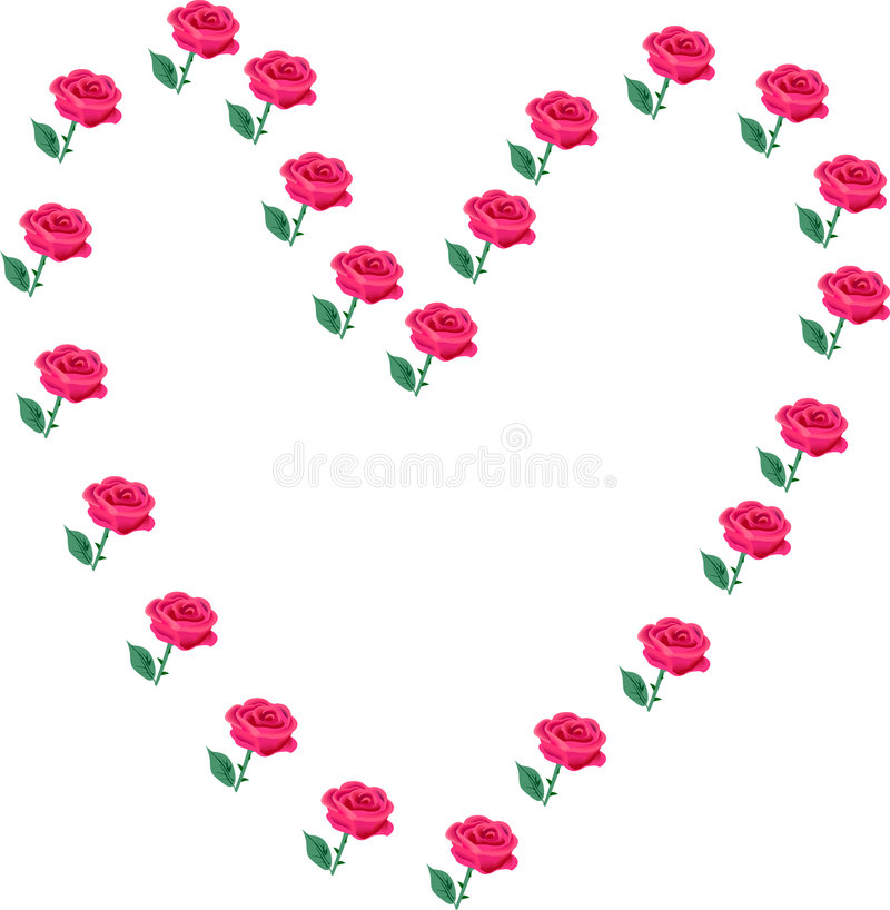 Hearts and Roses vector illustration