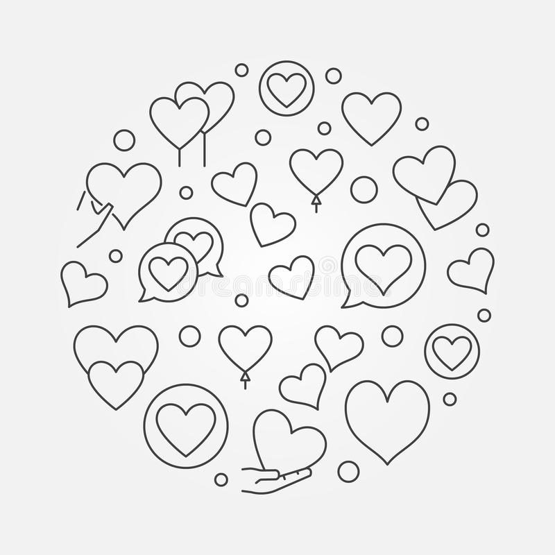 Hearts round outline vector modern illustration royalty free illustration