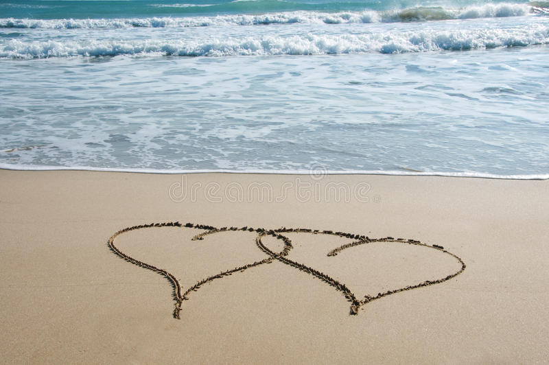 Hearts in the sand royalty free stock photography