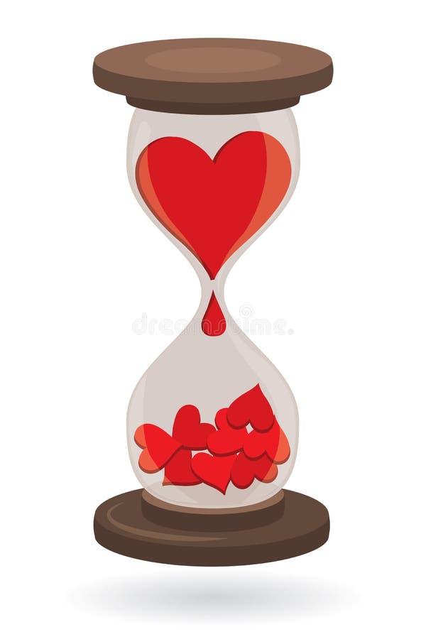 Hearts in Sand Clock. Red Hearts in Sand Clock as Love Concept vector illustration vector illustration