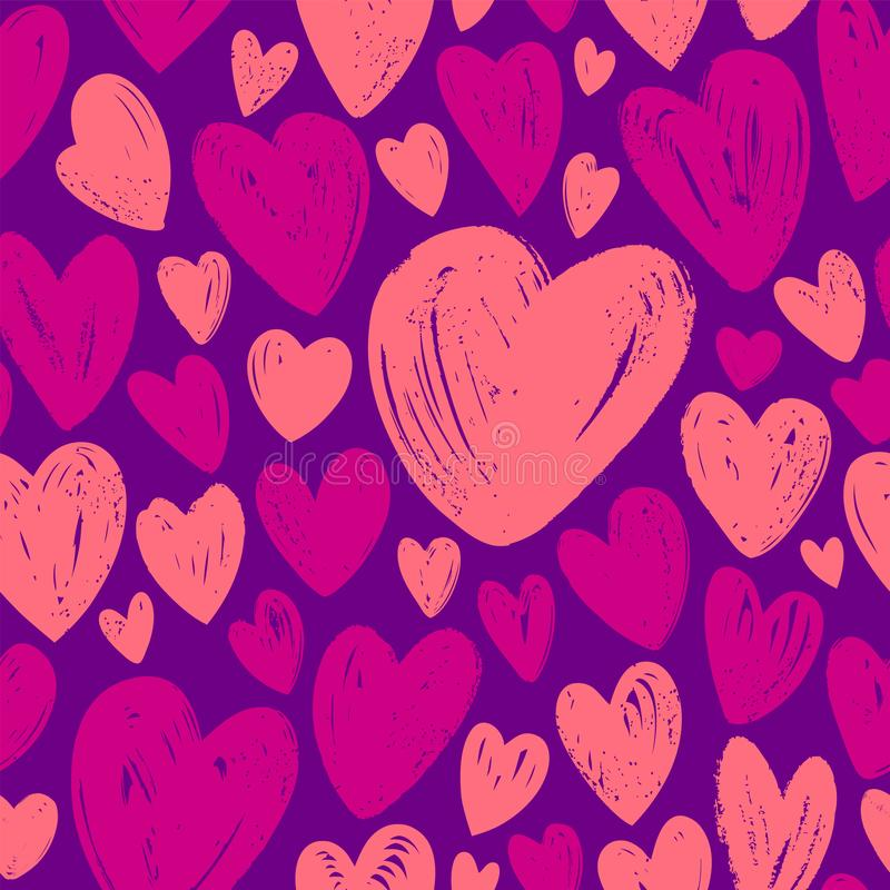 Hearts, seamless background. Hand drawn vector illustration. Hearts, seamless background. Love hand drawn vector illustration royalty free illustration