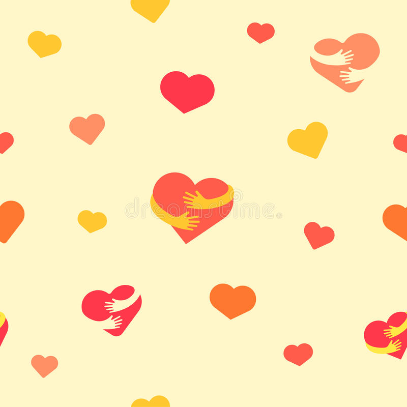 Hearts seamless pattern. Baby background with colorful hearts and hands. Vector illustration. Flat background for design royalty free illustration