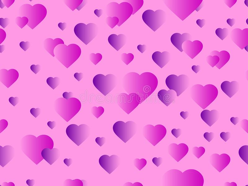 Hearts seamless pattern. Happy Valentine`s day, 14th of February. Bright hearts with gradient. Vector. Illustration vector illustration