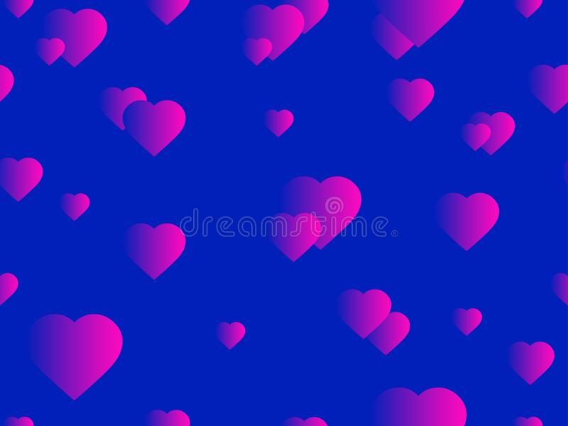 Hearts seamless pattern. Happy Valentine`s day, 14th of February. Bright hearts with gradient. Vector. Illustration royalty free illustration
