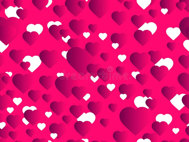 Hearts seamless pattern. Happy Valentine`s day, 14th of February. Bright hearts with gradient. Vector. Illustration stock illustration