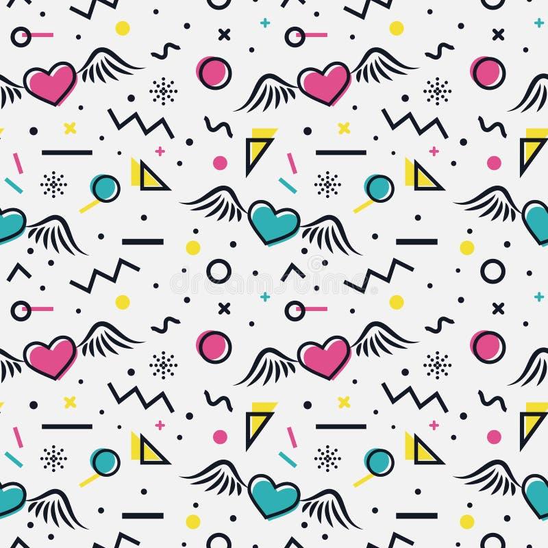 Hearts seamless pattern in memphis style. stock illustration