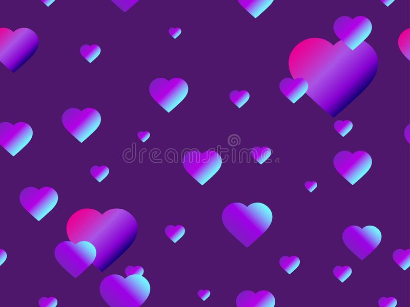 Hearts seamless pattern with purple gradient. Futuristic modern trend. Vector royalty free illustration
