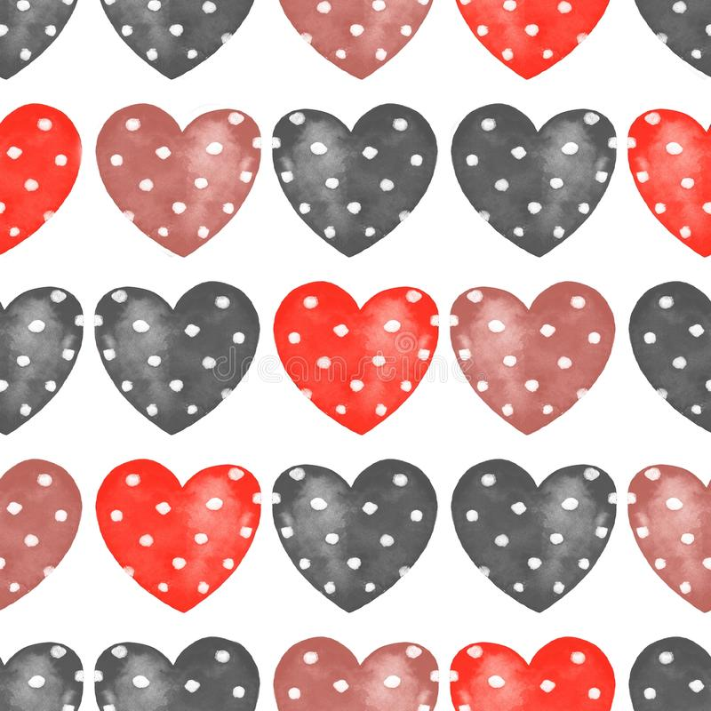Hearts. Seamless pattern with red and black hearts. Watercolor seamless pattern with hearts vector illustration