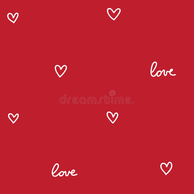 Hearts seamless pattern red stock illustration