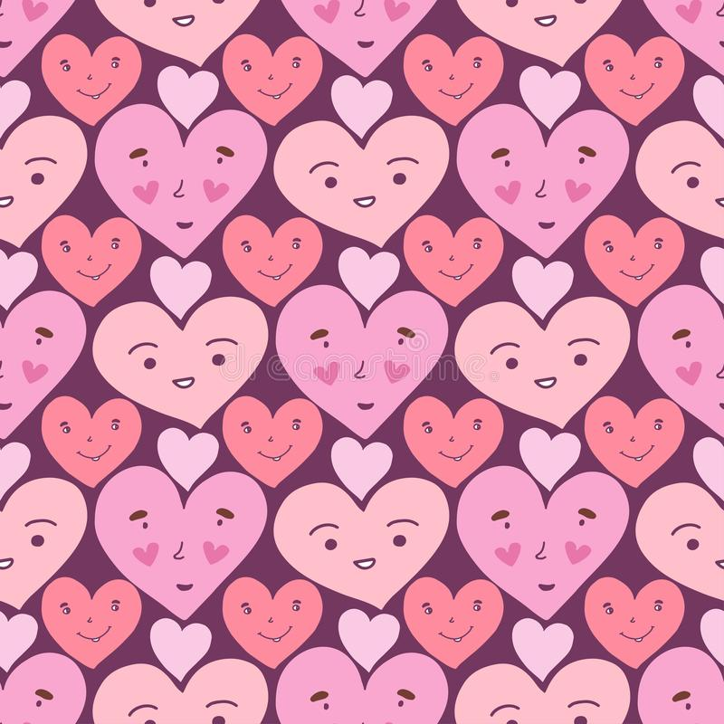 Hearts seamless pattern. Sweet doodle texture. Textile print or wrapping paper. Funny packaging design. Valentines day background. royalty free illustration