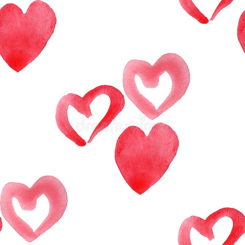 Free Hearts Seamless Pattern. Valentine`s Day Handwritten Background. 14 February Background Stock Photo - 137664430