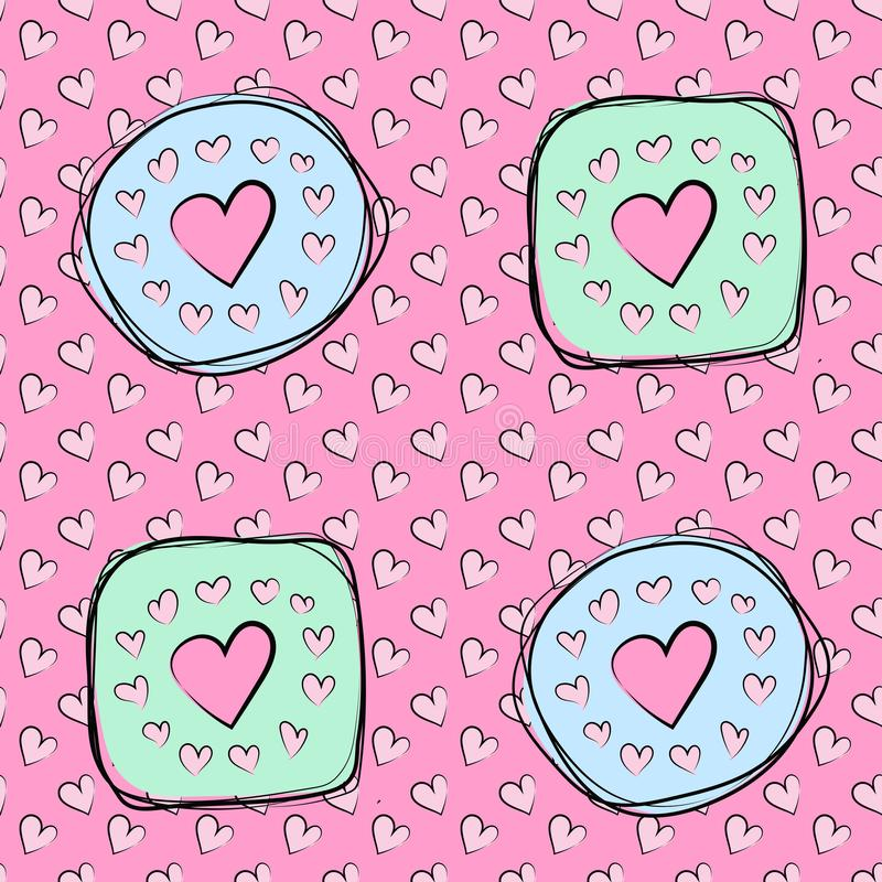 Hearts seamless pattern vector background, Valentine`s day backgroun vector illustration