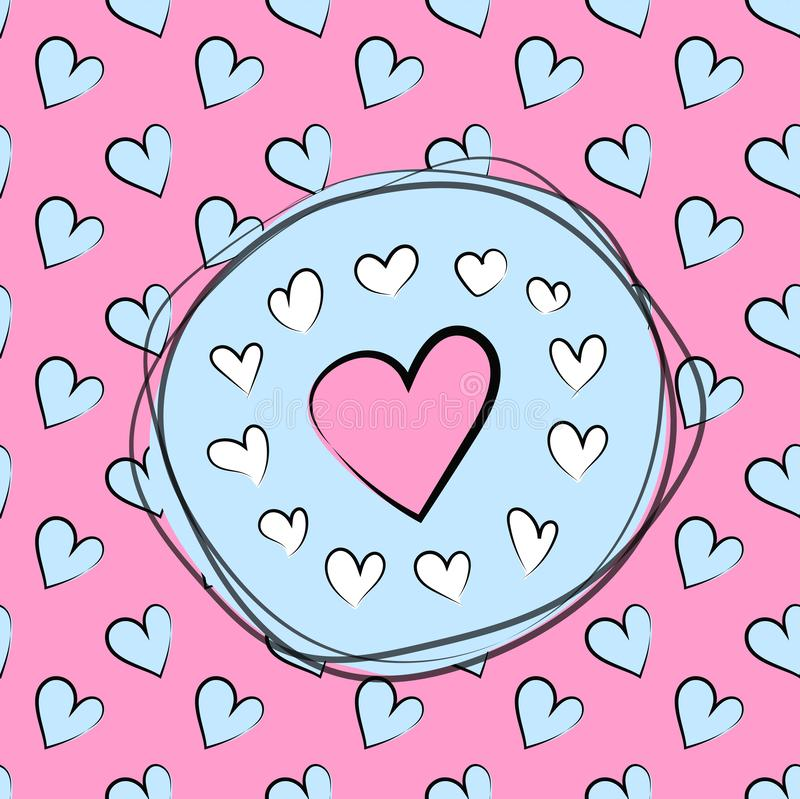 Hearts seamless pattern vector background, Valentine`s day background vector illustration