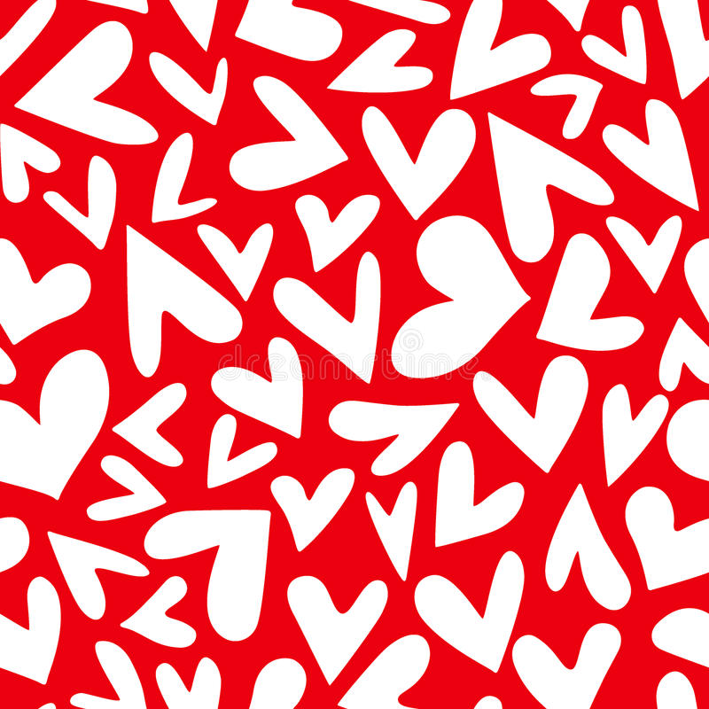 Hearts seamless pattern. Vector seamless pattern with hand drawn doodle hearts. Cute and romantic illustration. Perfect for Valentine`s day greeting stock illustration