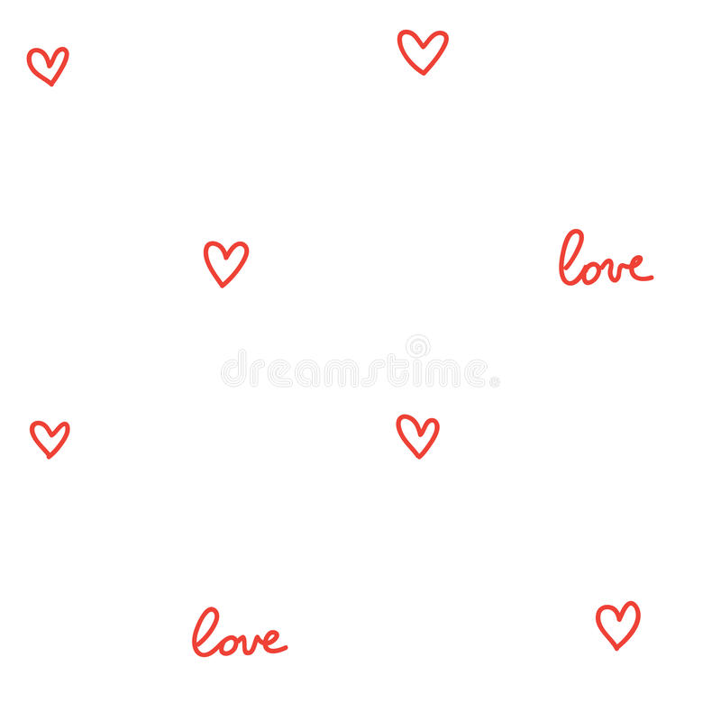 Hearts seamless pattern white with red vector illustration
