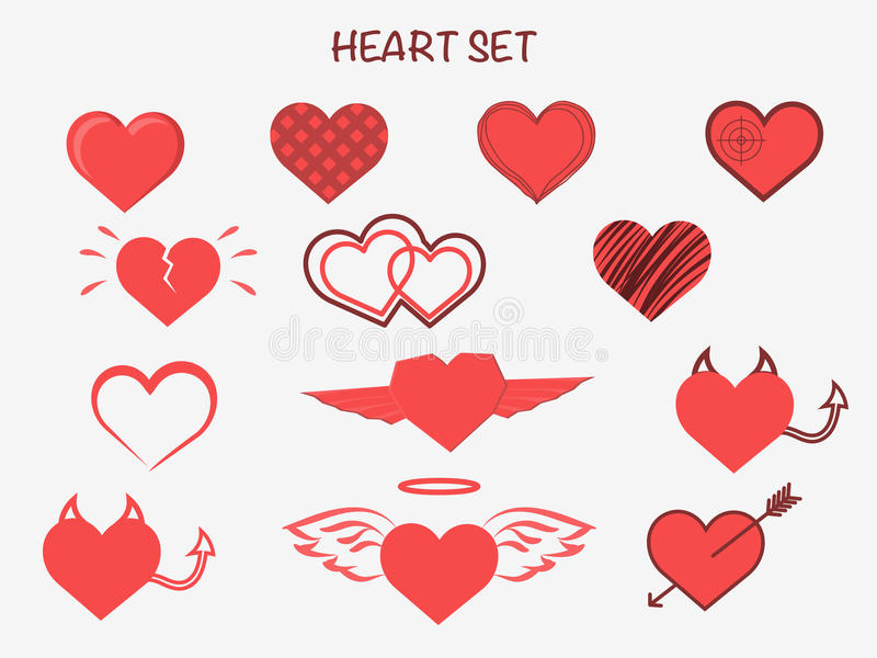 Hearts set for wedding and valentine design. Love collection. Flat stock illustration royalty free illustration