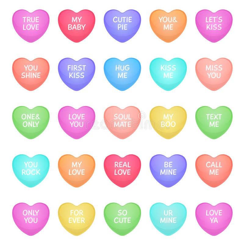 Free Hearts Shape Candies. Cute Valentine Heart Shapes Of Candy With Love Writings, Love Message Sweets For Romance Royalty Free Stock Photos - 155035298