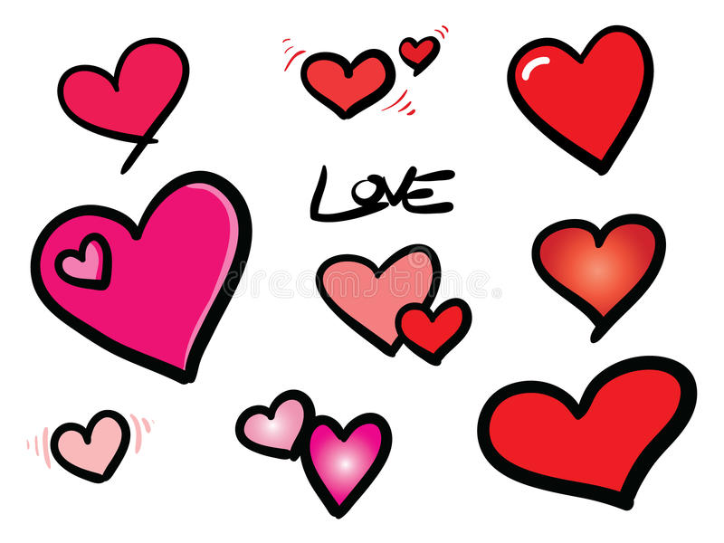 Hearts shapes. Picture of nine heart shapes royalty free illustration