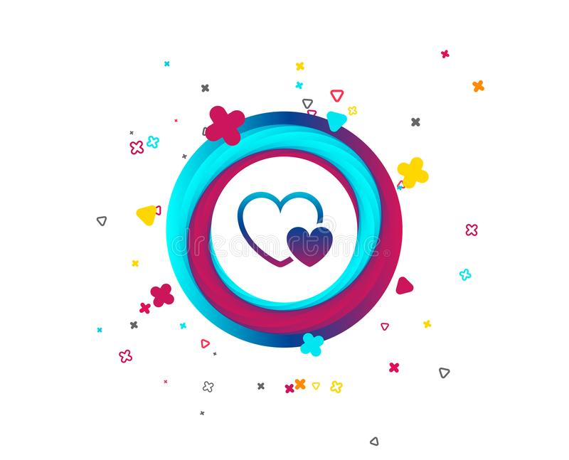 Hearts sign icon. Love symbol. Colorful button with icon. Geometric elements. Vector stock illustration