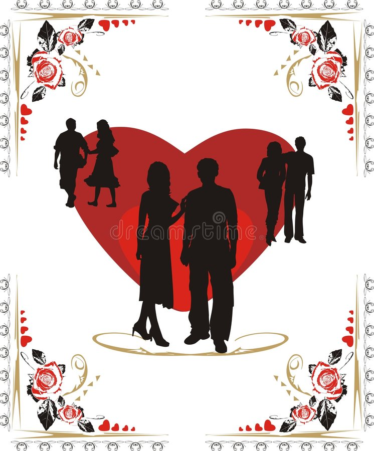 Download Hearts And Silhouettes Of Youth Royalty Free Stock Image - Image: 4008046