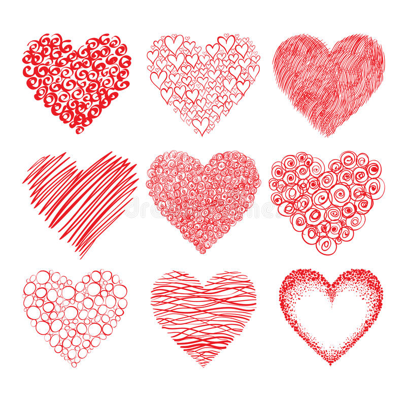 Hearts sketch. Vector collection of red hand-drawn hearts shapes isolated on white background. Can represent love, Valentine's Day, romance royalty free illustration
