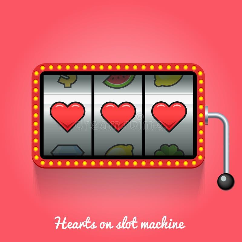 Hearts on slot machine. Conceptual illustration stock illustration