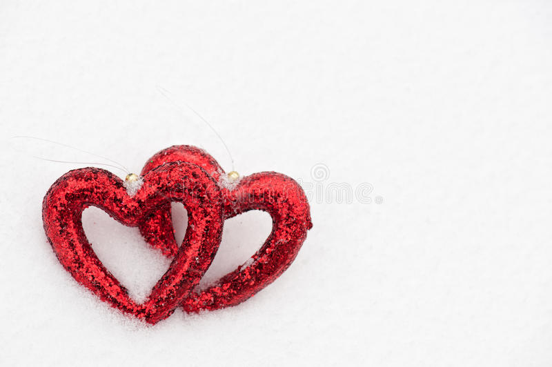 Download Hearts on snow stock photo. Image of december, hole, decor - 29703270