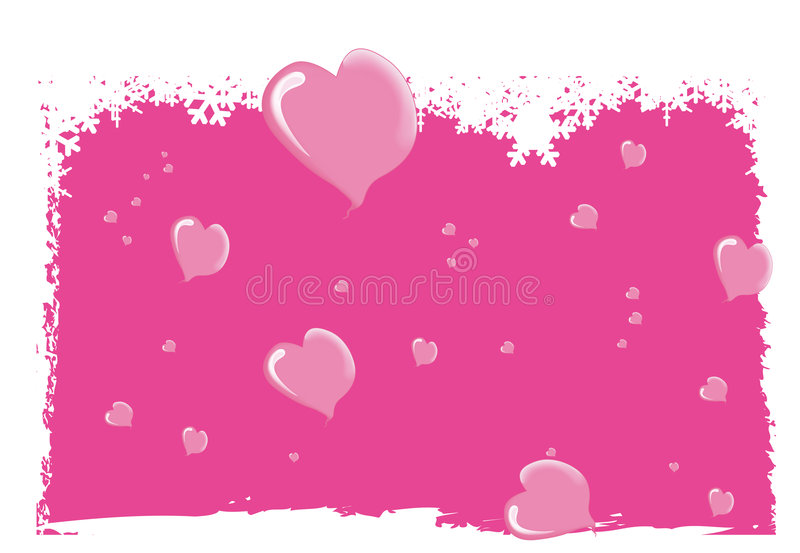 Hearts And Snowflakes Design Stock Photos