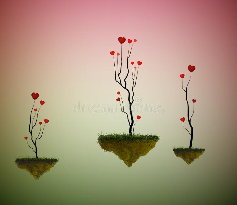Hearts sprout trees growing on the flying rocks, love garden in the dreamland, fairy love tree garden, vector illustration