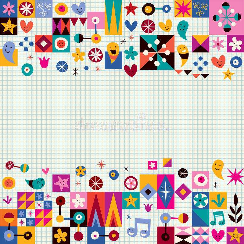 Hearts, stars and flowers abstract art background. Abstract art background retro style royalty free illustration