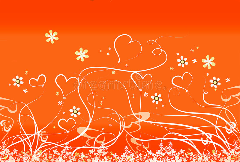 Hearts and stems. Abstract floral background royalty free illustration