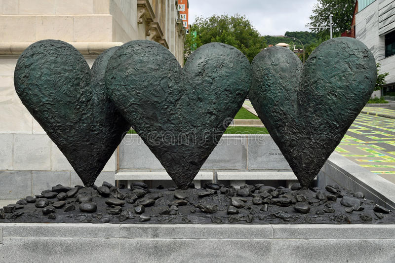 Hearts of Stone, Montreal Museum of Fine Arts, Canada. Sculpture outside the Montreal Museum of Fine Arts, Canada royalty free stock images