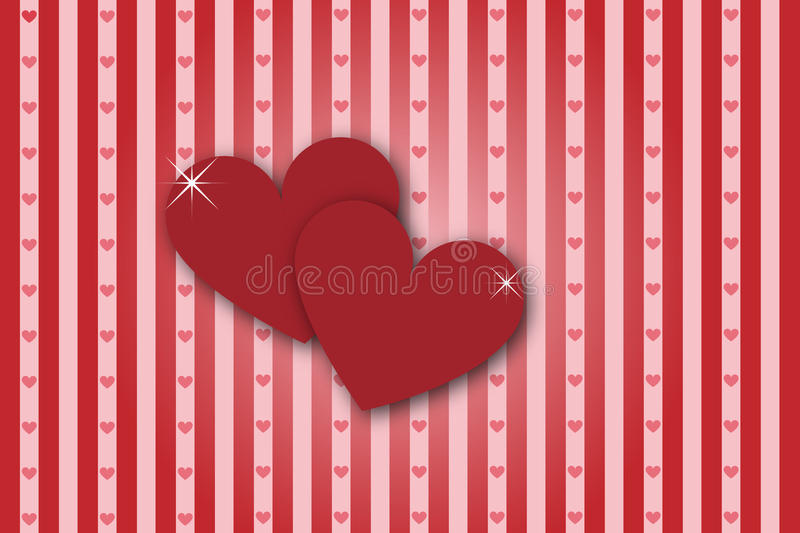 Hearts stripes background - valentine theme. A striped background with hearts on foreground.Valentine theme.EPS file available royalty free illustration