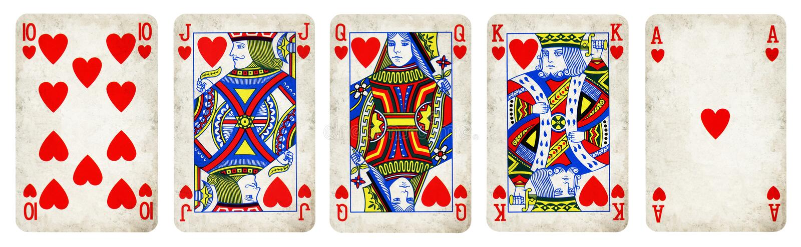 Hearts Suit Vintage Playing Cards stock photos