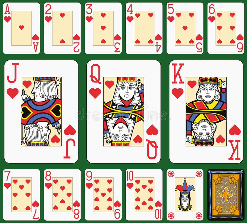 Hearts Suite Black Jack large figures. Playing cards, hearts suite, joker and back. Faces double sized. Green background stock illustration