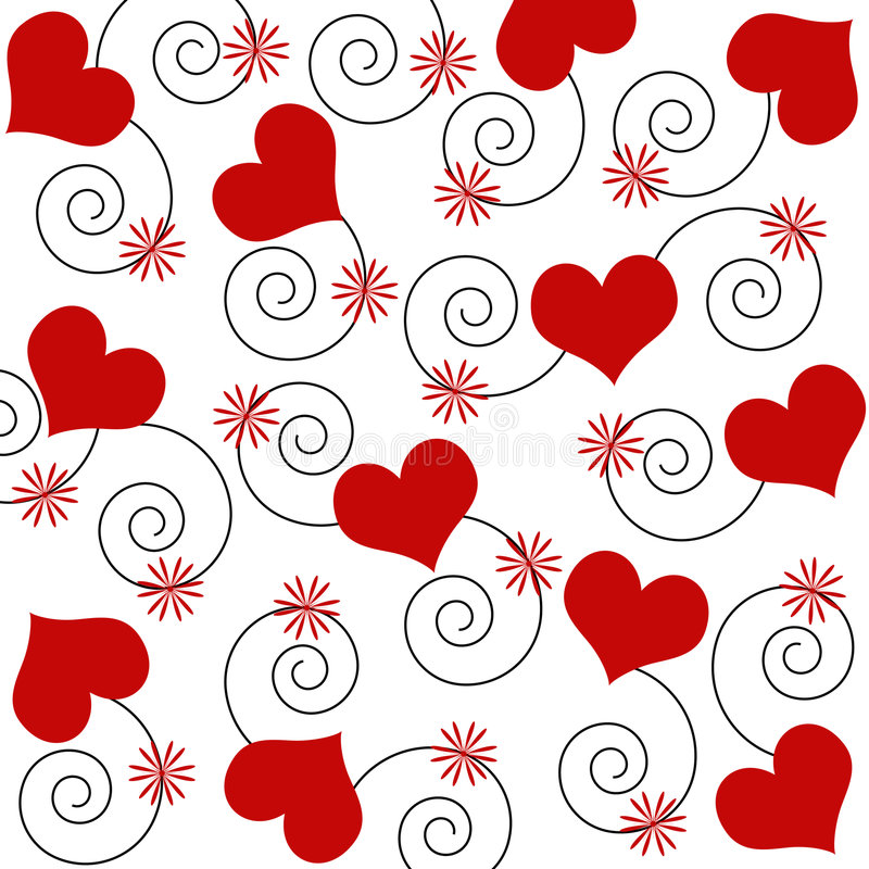 Hearts and swirls vector illustration