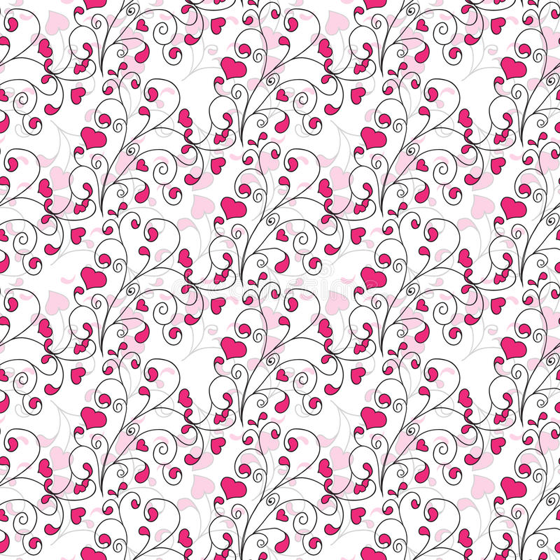 Hearts and swirls on a light background. seamless royalty free illustration
