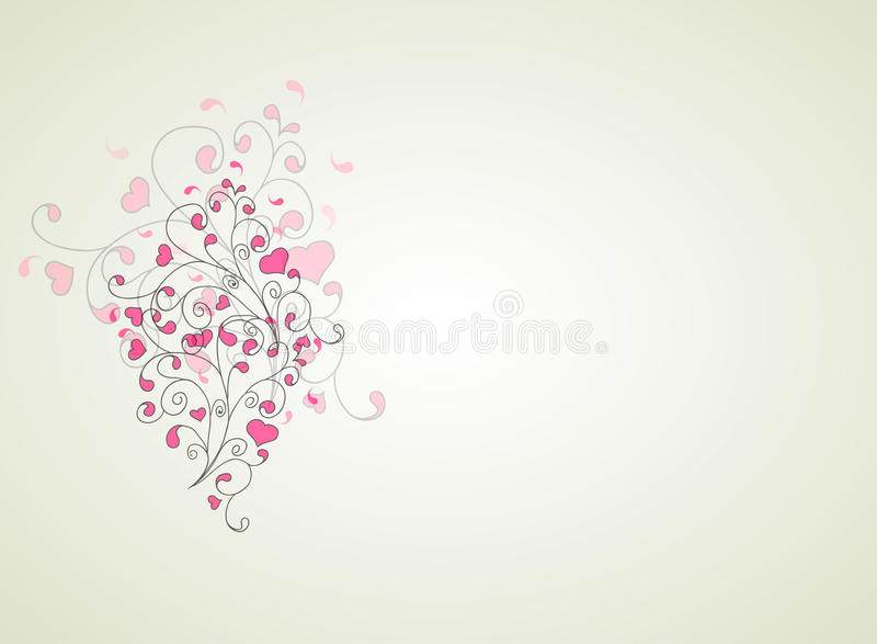 Hearts and swirls on on a light background royalty free illustration