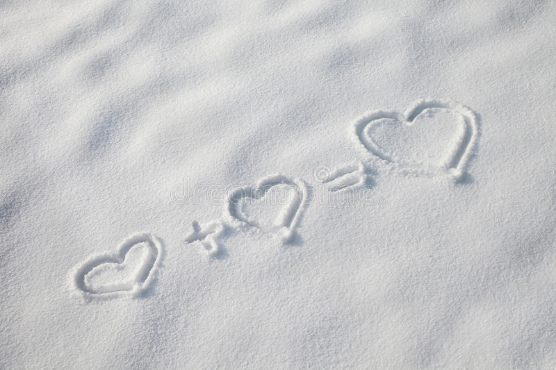 Download Hearts symbols in the snow stock image. Image of equation - 29507869