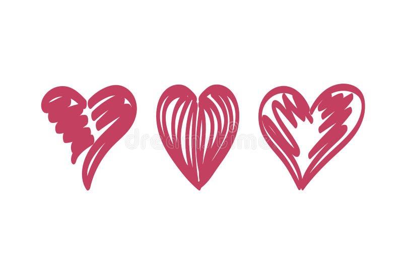 Hearts temp stroke dark red. Vector set of the hearts. Heart templates. Variety heart shapes. Valentine`s hearts. Kit of the hearts. Vintage heart. Funny love stock illustration