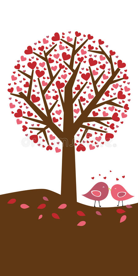 Hearts tree background - valentine theme. Illustration of a background with a tree of hearts and two birds.Valentine theme.EPS file available vector illustration
