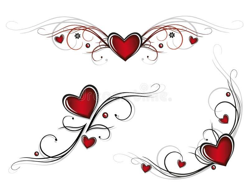 Hearts, tribals vector illustration
