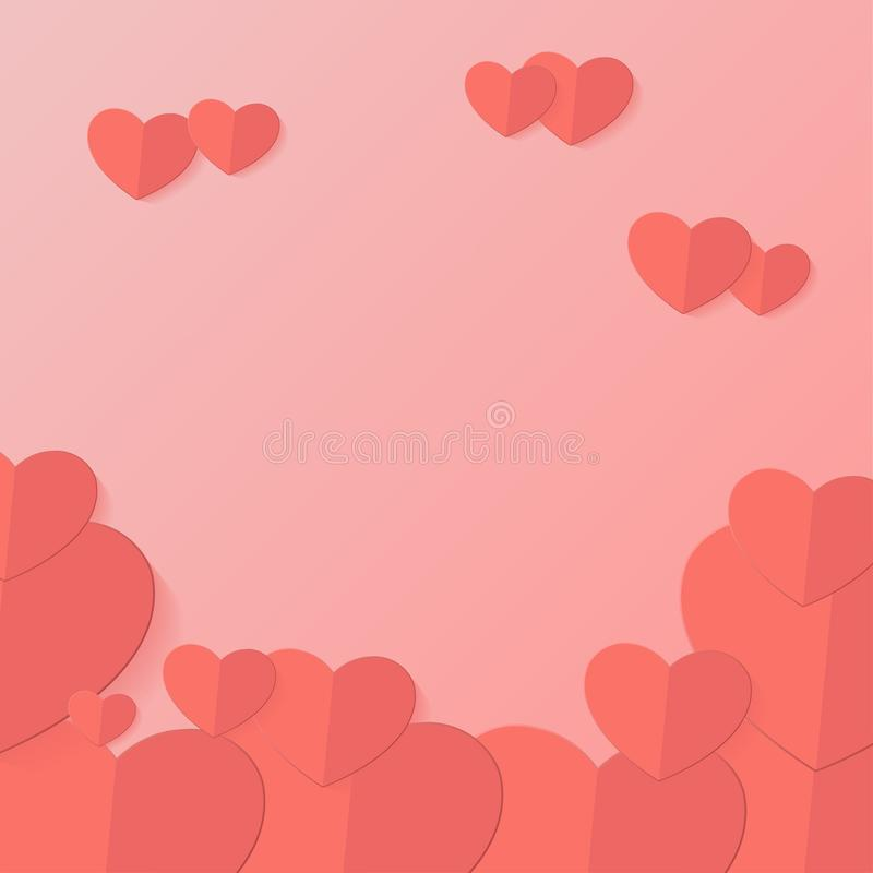 Happy valentines day typography vector illustration design with paper cut red heart shape origami made hot air balloons flying in royalty free illustration
