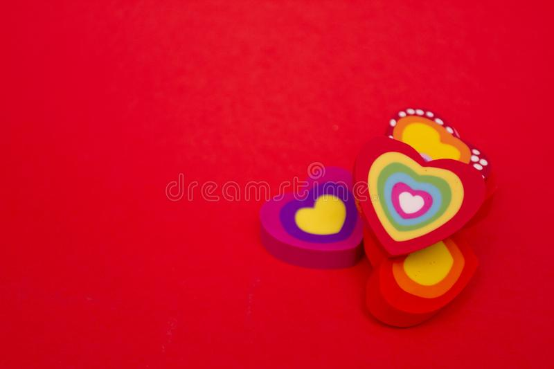 Hearts. Valentine day. Card for St. Valentine day with copy space and hearts. Color hearts on Valentine's day background. Red. Background with heart royalty free stock image
